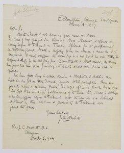 NRCC-CL 9-1-3098 Bernard N Nesbitt Letter dated 18th March 1917
