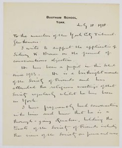 NRCC-CL 9-1-5715 Sidney Kemp Brown Letter from Bootham School York [1]