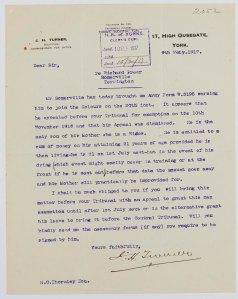 NRCC-CL 9-1-2052 Richard Freer Somerville Letter dated 9th Feb 1917