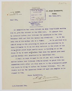 NRCC-CL 9-1-2052 Richard Freer Somerville Letter dated 9th Feb 1917